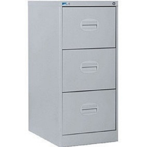 Kontrax Lockable 3 Drawer Filing Cabinet in Silver