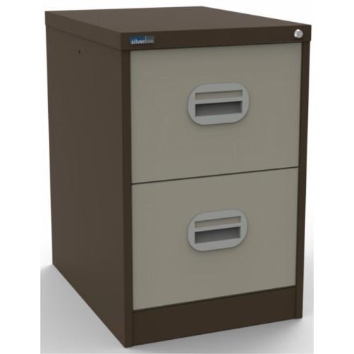 Kontrax Lockable 2 Drawer Filing Cabinet in Brown/Beige