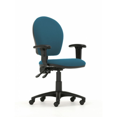 Curve High Back Operators Chair in Peacock Blue Vita Vinyl with Height Adjustable Arms