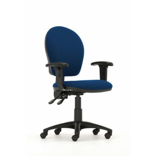 Curve High Back Operators Chair in Hobbit Blue Fabric with Height Adjustable Arms