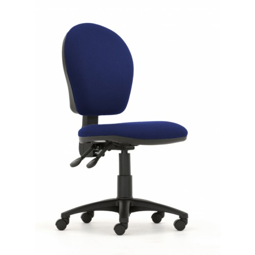 Curve High Back Operators Chair in Navy Cobalt Fabric with No Arms