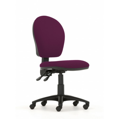 Curve High Back Operators Chair in Damson Fabric with No Arms
