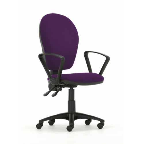 Curve Xtra High Back Operators Chair with Synchronised Mechanism in Amethyst Purple Vita Vinyl with Fixed Arms