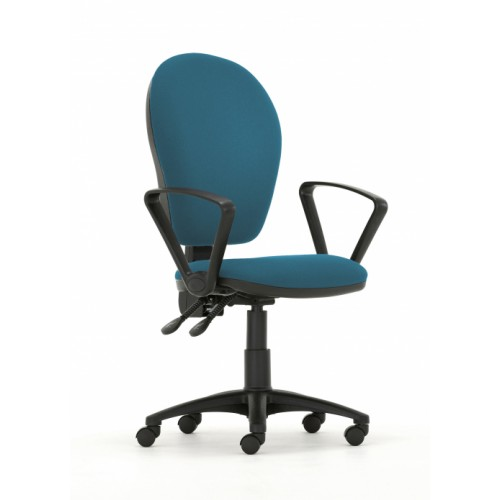 Curve Xtra High Back Operators Chair with Independent Mechanism in Peacock Blue Vita Vinyl with Fixed Arms