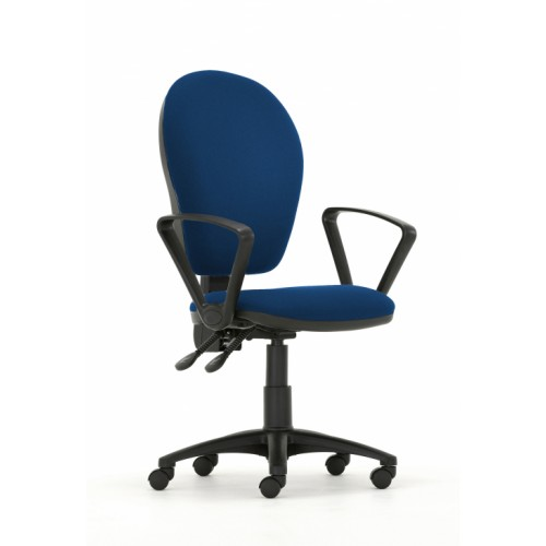 Curve Xtra High Back Operators Chair with Independent Mechanism in Hobbit Blue Fabric with Fixed Arms