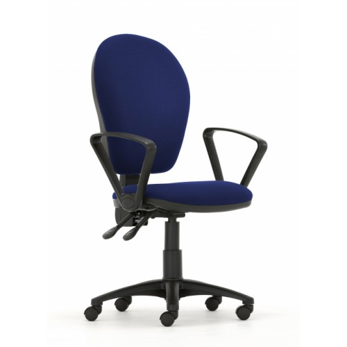 Curve Xtra High Back Operators Chair with Synchronised Mechanism in Navy Cobalt Fabric with Fixed Arms