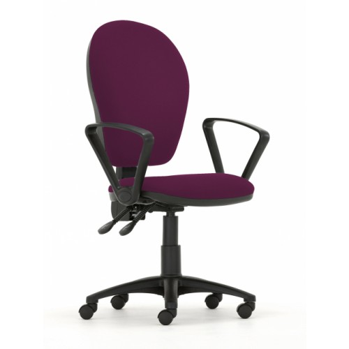 Curve Xtra High Back Operators Chair with Synchronised Mechanism in Damson Fabric with Fixed Arms