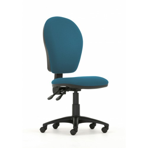Curve Xtra High Back Operators Chair with Synchronised Mechanism in Peacock Blue Vita Vinyl with No Arms