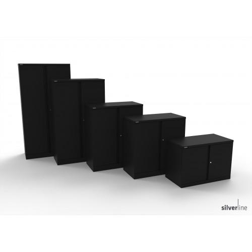 Executive Double Door Cupboard 1020mm High in Black