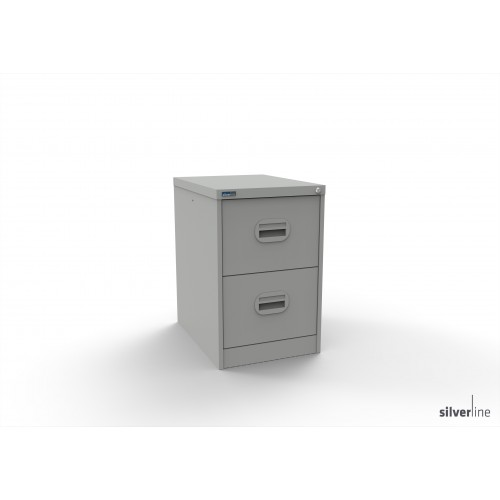 39112 Executive Lockable 2 Drawer Filing Cabinet in Light Grey