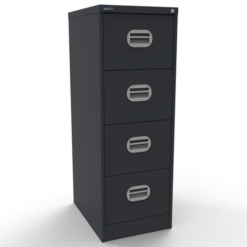 Kontrax Lockable 4 Drawer Filing Cabinet in Black