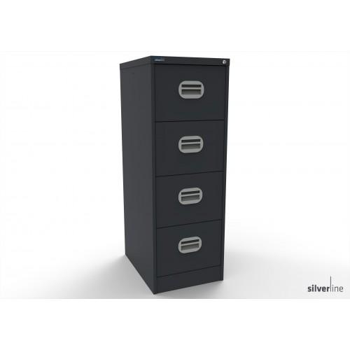 Kontrax Lockable 4 Drawer Filing Cabinet in Graphite