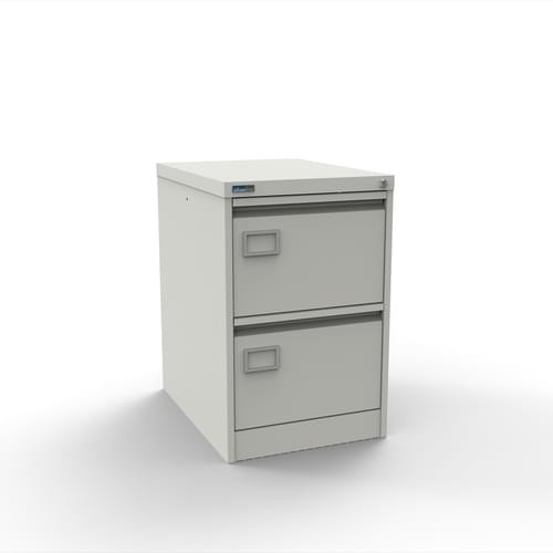 Executive Lockable 2 Drawer Filing Cabinet in Light Grey