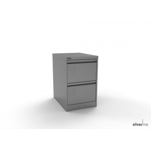 Executive Lockable 2 Drawer Filing Cabinet in Silver