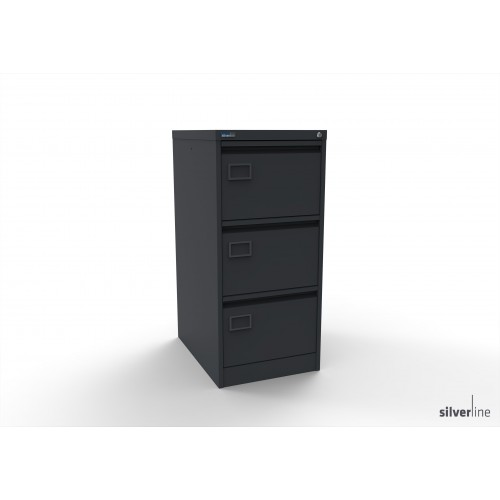 Executive Lockable 3 Drawer Filing Cabinet in Graphite