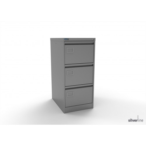 Executive Lockable 3 Drawer Filing Cabinet in Silver