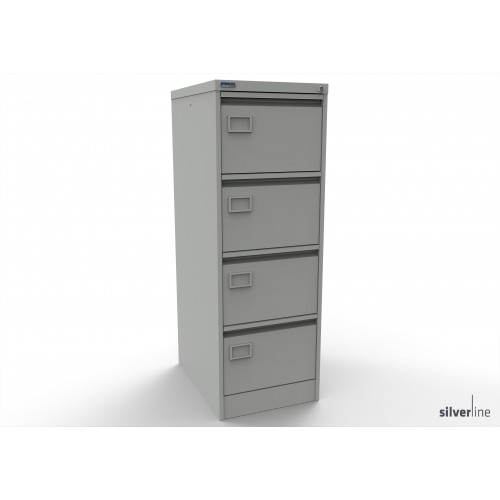 Executive Lockable 4 Drawer Filing Cabinet in Light Grey