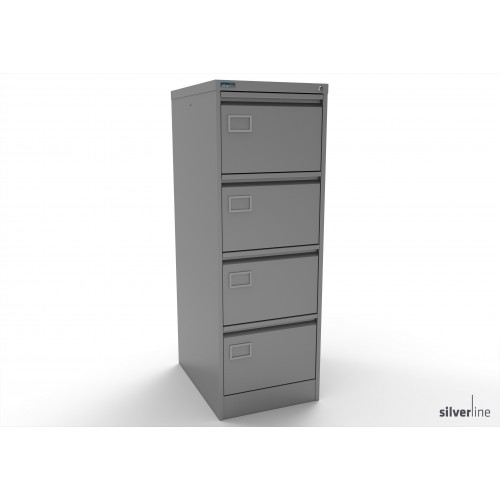 Executive Lockable 4 Drawer Filing Cabinet in Silver