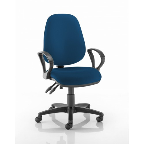 High Back Operators Chair in Scuba Dark Blue Fabric with Fixed Arms