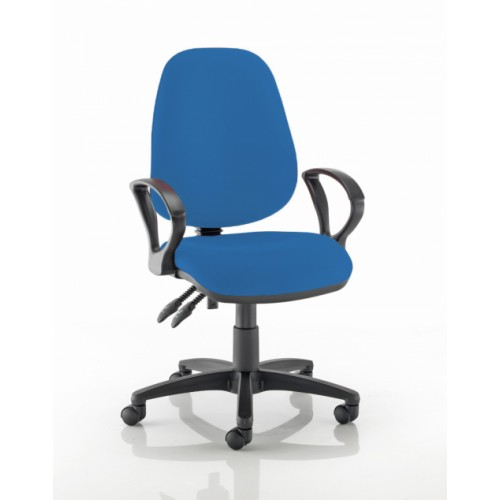 High Back Operators Chair in Clash Blue Vita Vinyl with Fixed Arms