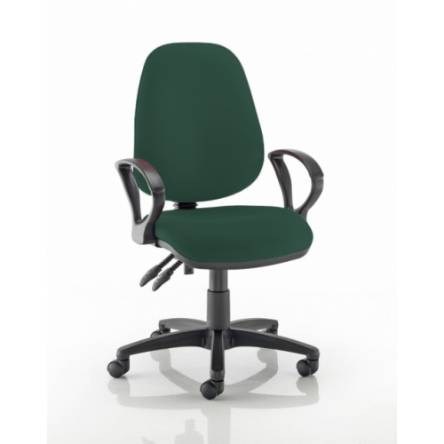 High Back Operators Chair in Montserrat Dark Green Fabric with Fixed Arms