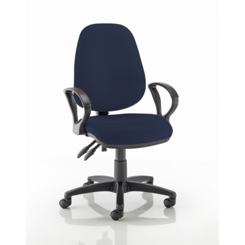 High Back Operators Chair in Navy Marina Vita Vinyl with Fixed Arms