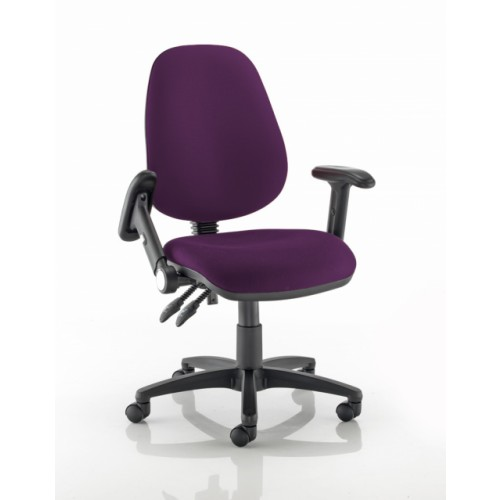 High Back Operators Chair in Amethyst Purple Vita Vinyl with Fold Down Arms
