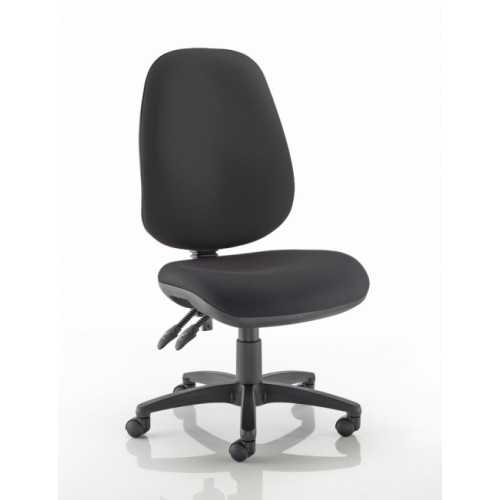 XL High Back Operators Chair in Noir Black Vita Vinyl with No Arms