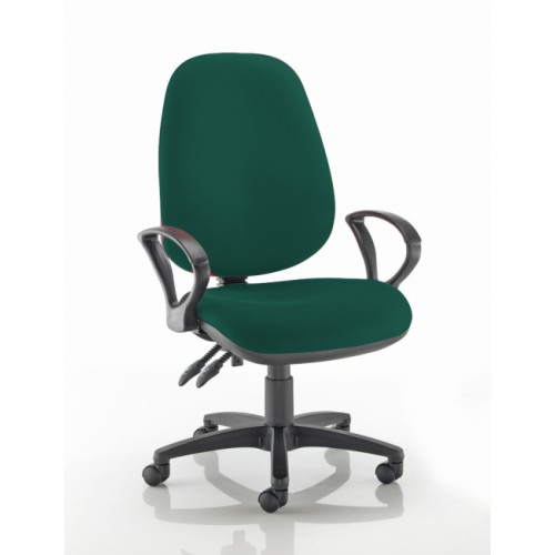 XL High Back Operators Chair in Montserrat Dark Green Fabric with Fixed Arms