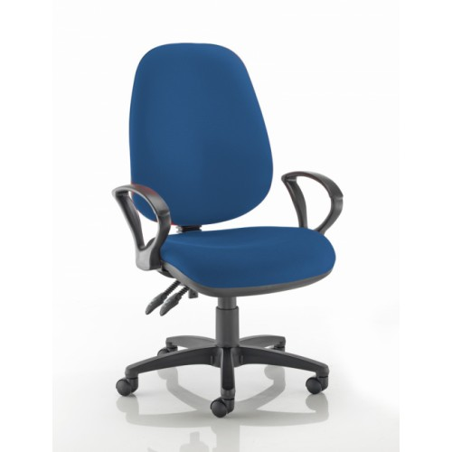 XL High Back Operators Chair in Scuba Dark Blue Fabric with Fixed Arms