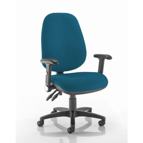 XL High Back Operators Chair in Peacock Blue Vita Vinyl with Fold Down Arms