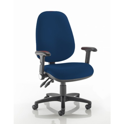 XL High Back Operators Chair in Navy Marina Vita Vinyl with Fold Down Arms