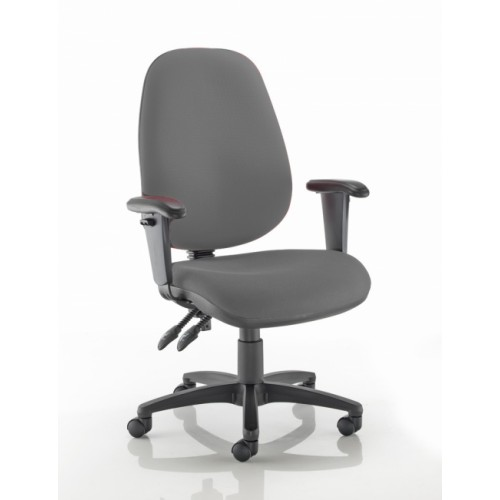 XL High Back Operators Chair in Blizzard Light Grey Fabric with Height Adjustable Arms