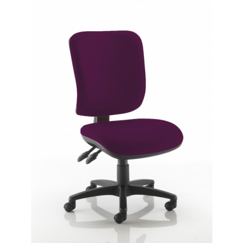Square Back Operators Chair in Tarot Purple Fabric with No Arms