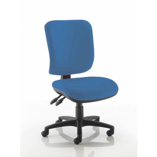 Square Back Operators Chair in Clash Blue Vita Vinyl with No Arms