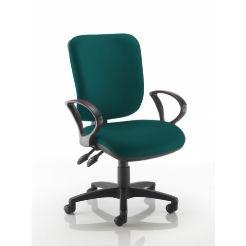Square Back Operators Chair in Montserrat Dark Green Fabric with Fixed Arms
