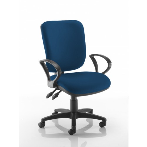 Square Back Operators Chair in Scuba Dark Blue Fabric with Fixed Arms