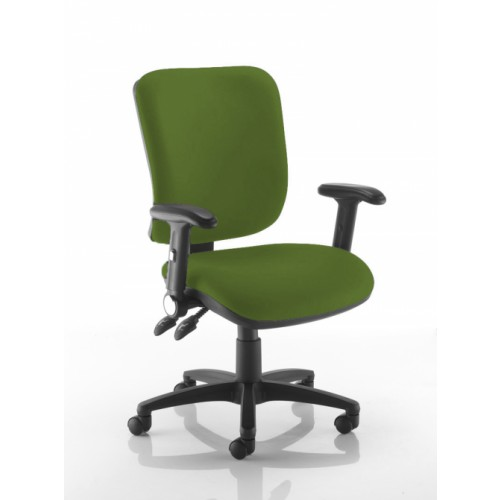 Square Back Operators Chair in Avocado Green Vita Vinyl with Fold Down Arms