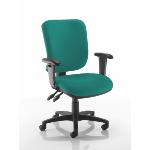 Square Back Operators Chair in Sapphire Teal Vita Vinyl with Height Adjustable Arms