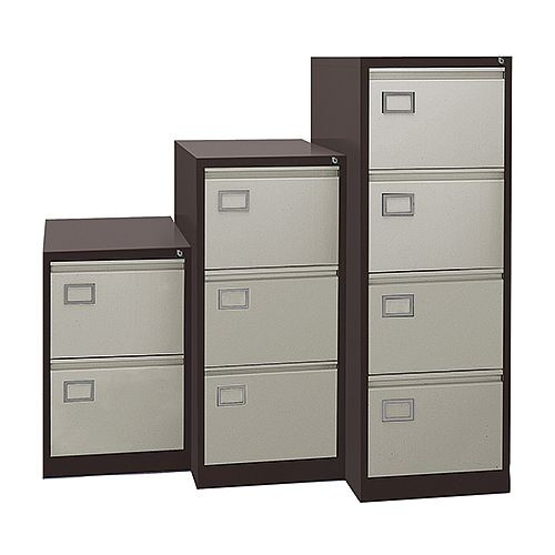 Executive Lockable 4 Drawer Filing Cabinet in Brown/Beige