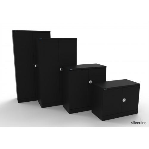 Kontrax Double Door Cupboard 1830mm High in Black