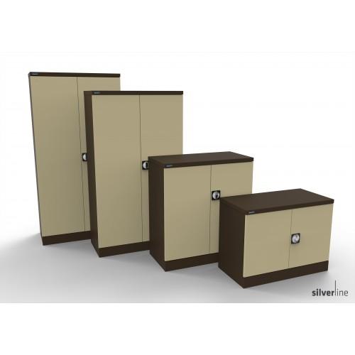 Kontrax Double Door Cupboard 1020mm High in Brown/Beige
