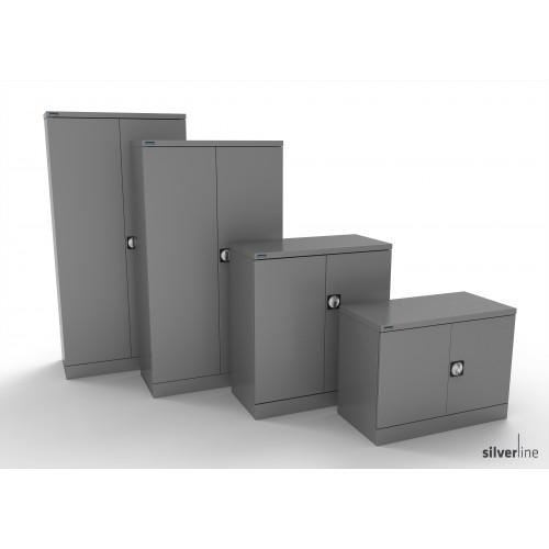 Kontrax Double Door Cupboard 1020mm High in Silver