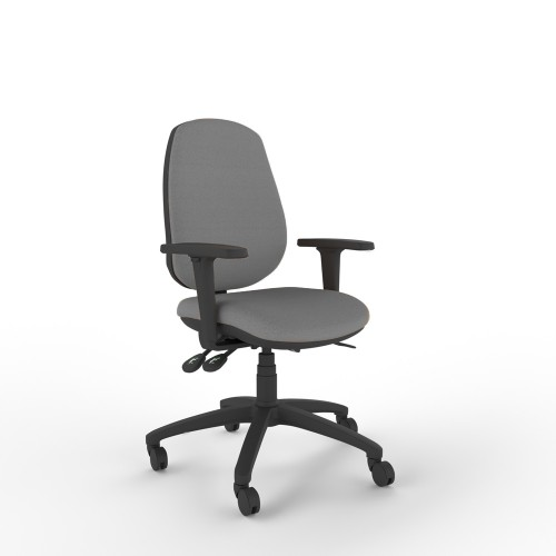 Posture 100 Ergonomic Chair with High Back, Height & Foldaway Arms in Granite Grey Fabric