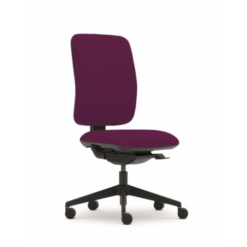 Pluto Plus High Back Ergonomic Chair in Damson Fabric with No Arms