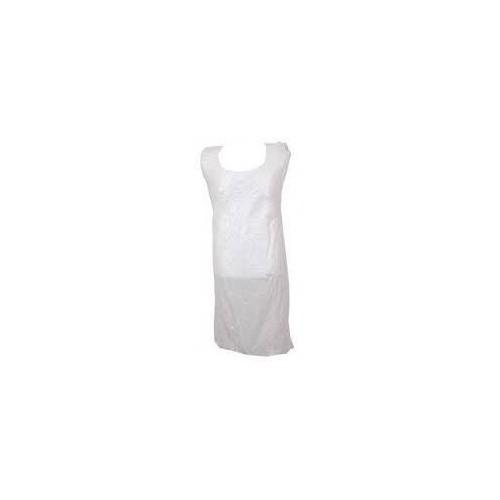 WHITE PLASTIC APRONS FLAT PACK PK100