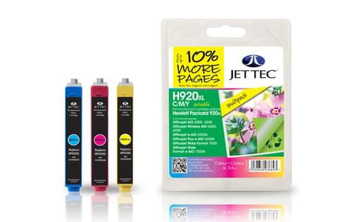 Jettec Remanufactured HP920XL C/M/Y Multipack Inkjet Cartridges (H920CMY)