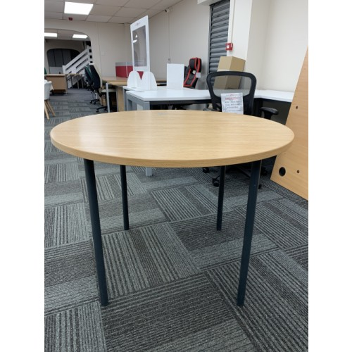 Meeting Table, In Oak Finish. 1000mm Diameter. 1 In Stock