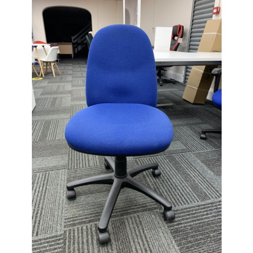 Operators Chair, Blue Fabric. 2 In Stock