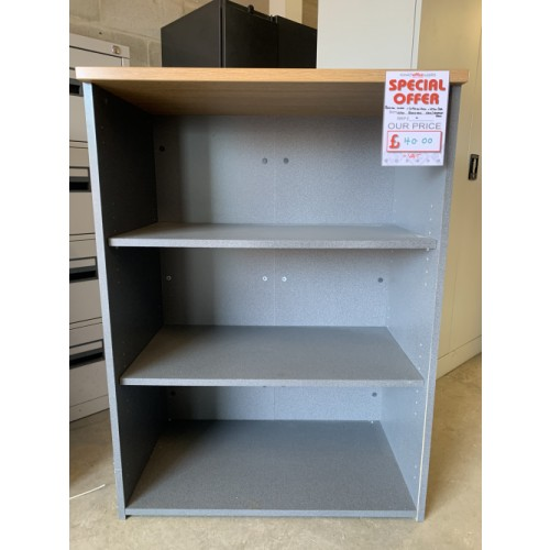 Bookcase, With 3 Shelf Levels. In Limed Oak Finish. 1090mm High x 800mm Width x 470mm Depth. 23 In Stock